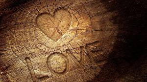 Фото Любовь Сердце Пень Слово - Надпись