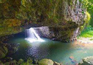 Обои Австралия Парки Водопады Утес Springbrook National Park Природа