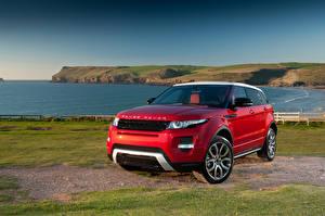 Обои Land Rover Побережье Красный 2011 Range Rover Evoque Prestige Автомобили фото