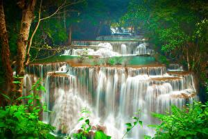 Обои Таиланд Тропики Водопады Деревья Huay Maekamin Waterfall Kanchanaburi Природа фото