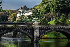 Картинки Япония Токио Реки Мосты Дворец Imperial Palace Города