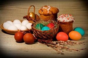 Обои Праздники Пасха Кулич Яйца Корзинка Еда фото