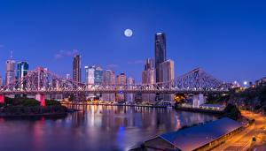 Картинка Австралия Здания Речка Мосты Дороги Брисбен Ночные Города