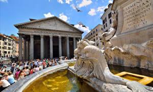 Обои Скульптуры Рим Италия Pantheon Города фото