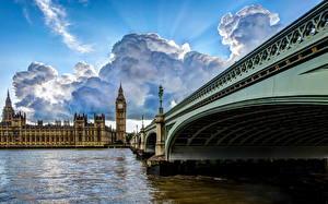 Фотография Мосты Англия Река Лондоне Облака Биг-Бен