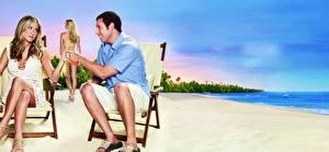 Обои для рабочего стола Jennifer Aniston Пляжа Adam Sandler кино Девушки Знаменитости