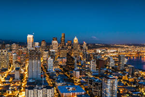 Картинка Америка Дома Сиэтл Мегаполиса В ночи