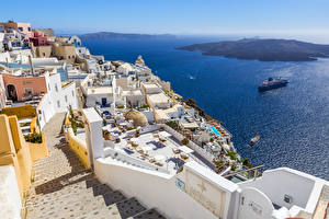 Обои Греция Побережье Дома Корабли Море Лестница Santorini Города фото