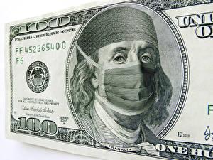 Обои Деньги Купюры Доллары Маски 100 Franklin Юмор фото