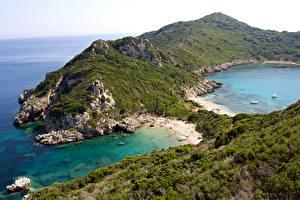 Обои Греция Побережье Горы Corfu Природа фото