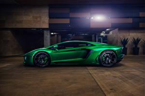 Картинка Ламборгини Зеленый Сбоку Aventador Машины