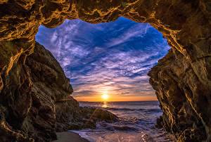 Картинки Небо Рассветы и закаты Штаты Океан Скалы Малибу Природа
