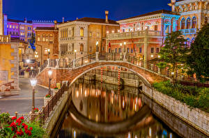 Обои Мосты Речка Здания Токио Япония Водный канал Ночь DisneySea