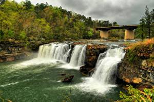 Фотографии США Реки Водопады Мосты Little River Canyon National Preserve Природа