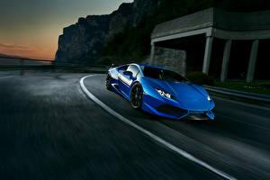 Фото Lamborghini Синий Novitec Torado Huracan Автомобили