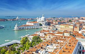 Обои Италия Дома Побережье Причалы Храмы Венеция Города фото