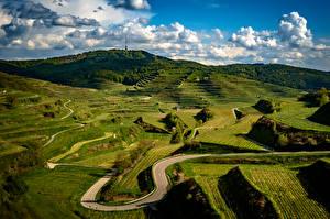 Фотография Германия Пейзаж Дороги Поля Облако Холмов Kaiserstuhl Hills Природа