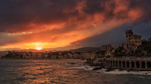 Фотография Италия Дома Рассветы и закаты Море Небо Лигурия Castagna Genoa Города
