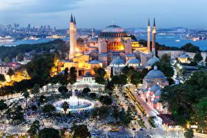 Обои Турция Дома Храмы Вечер Стамбул Сверху Города фото