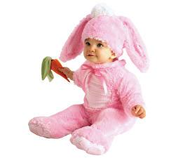 Картинки Кролики Младенец Униформа Розовый Дети