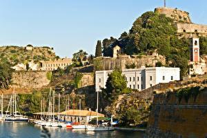 Обои Греция Дома Крепость Corfu Old Fortress Города фото