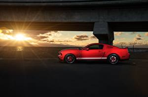 Картинка Ford Красный Лучи света Сбоку Mustang Shelby GT500 Авто