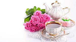Обои Розы Чай Чайник Чашка Цветы фото