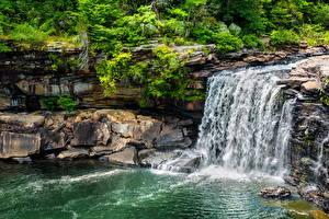 Картинки Водопады Камни Природа