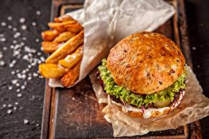Картинка Фастфуд Картофель фри Гамбургер Продукты питания