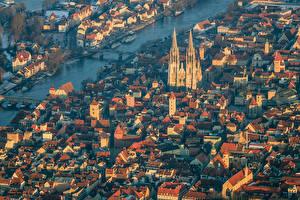 Фотографии Дома Германия Сверху Regensburg Города