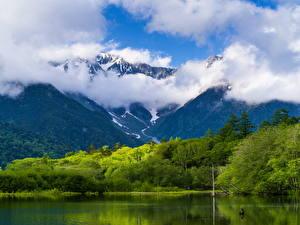 Фотографии Пейзаж Горы Озеро Леса Облака Природа