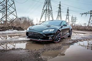 Фотографии Тесла моторс Серый Лужи 2015 Larte Design Tesla Model S Elizabeta автомобиль