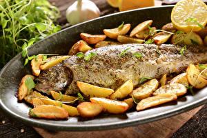 Обои Морепродукты Рыба Картофель фри Лимоны