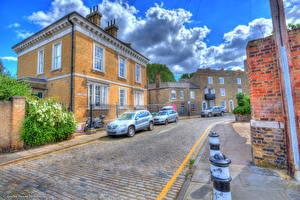 Картинки Великобритания Дома Лондон Улица HDR Облака Города