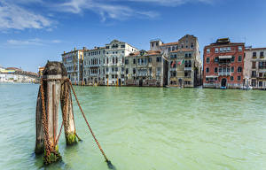 Обои Италия Дома Водный канал Венеция Canal Grande Города фото