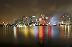 Обои Сингапур Побережье Ночь Marina Bay Sands Города фото