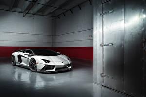Картинки Lamborghini Белый Aventador LP700-4 Машины