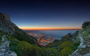 Картинки Вечер Берег Монако Океан Скалы Природа