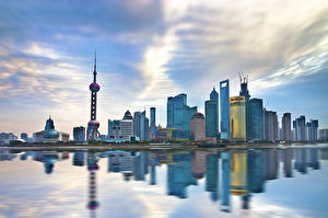 Обои Китай Шанхай Дома Небоскребы Города