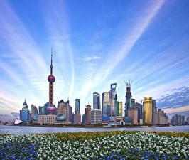 Картинки Китай Шанхай Дома Небоскребы Небо Города