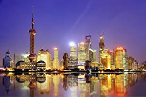Обои Китай Шанхай Дома Небоскребы Ночь Города