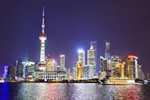 Картинки Китай Шанхай Здания Небоскребы Ночь Города