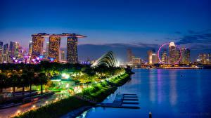 Фотографии Сингапур Ночь Набережная Marina Bay Sands