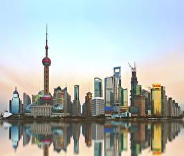 Фотография Китай Шанхай Дома Небоскребы Города