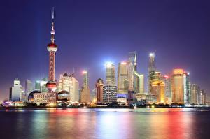 Фотография Китай Шанхай Здания Небоскребы Ночь Города