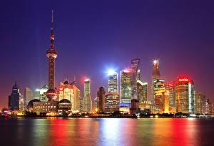Фотография Китай Шанхай Дома Небоскребы Ночь Города