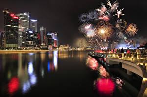Фото Сингапур Фейерверк В ночи Города