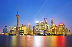 Обои Китай Шанхай Дома Небоскребы Ночные город