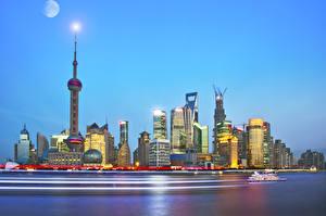 Картинки Китай Шанхай Дома Небоскребы Вечер Города