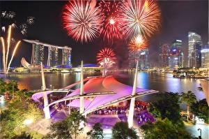 Фотография Сингапур Салют Ночью Marina Bay Sands город